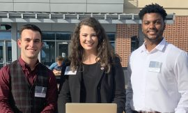 Team members are Shelby Baldwin (middle), Brandon Johns (left) and Calvin Waddy (right).